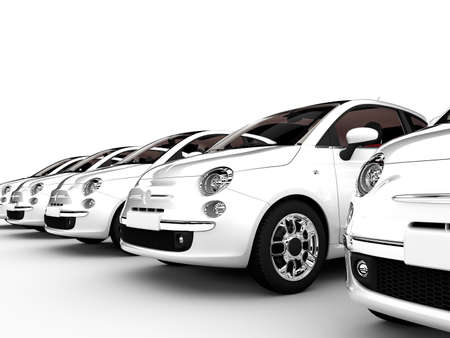 car showroom: 3D rendering of generic city-cars isolated on a white background