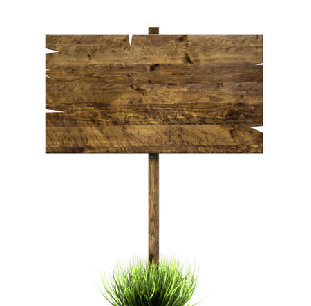 A wooden sign in green grass isolated on white photo