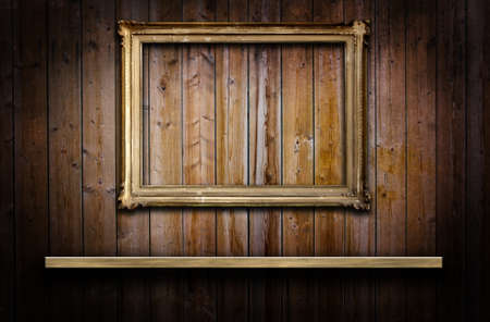 Old grunge wood panels with a frame and a shelf Stock Photo - 16212738