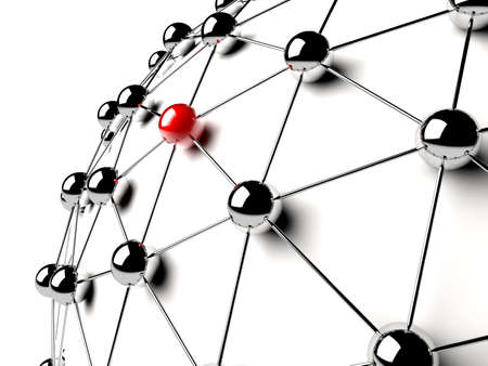 telecom: A red sphere linked with other grey  networking concept