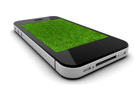 Mobile phone with grass screen isolated on a white background Stock Photo - 16853357
