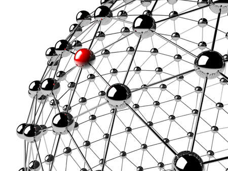 A red sphere linked with other grey  networking concept