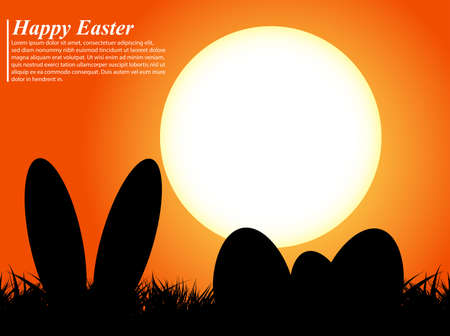 Easter eggs and ears rabbit in silhouette in front of a sunset Vector