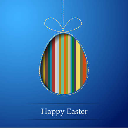 A striped egg on a blue background