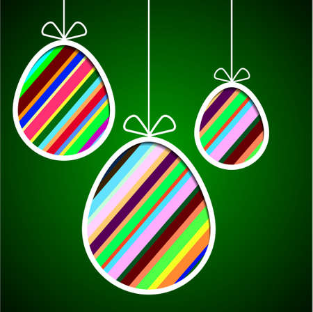 Three striped eggs on a green background Vector
