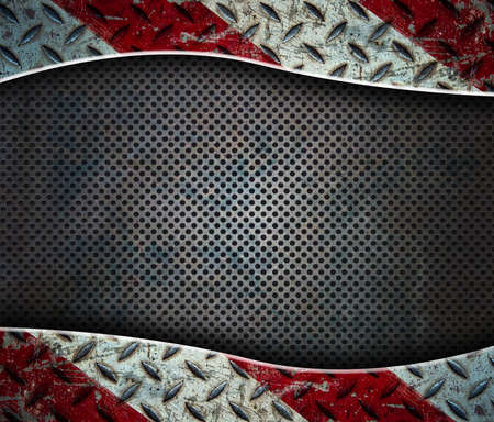 A red and white metal frame on a grunge grid photo