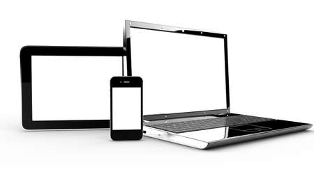 Pc, tablet and phone isolated on a white background photo