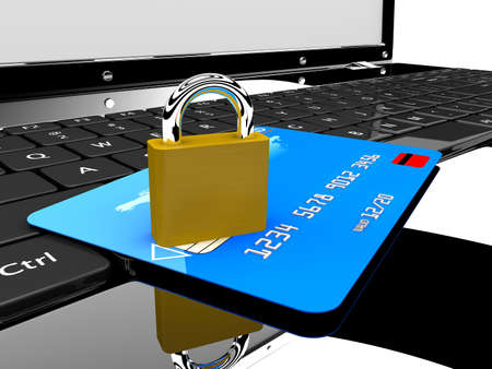 bank robber: A blue credit card and a lock on a laptop  Online security concept