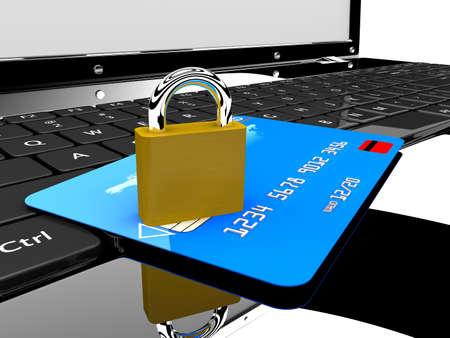 ladrones: Una tarjeta de cr�dito azul y un bloqueo en un concepto de port�til de seguridad en l�nea