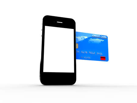 wireless connection: A credit card enter in a smartphone  Online payments concept