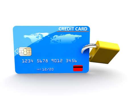 padlock: A padlock in a credit card  security concept Stock Photo