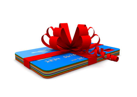 A pile of credit cards with a red ribbon  Gift concept