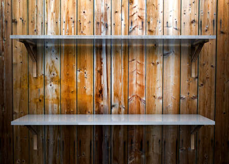 Two glass empty shelf on a wooden background Stock Photo - 17990865
