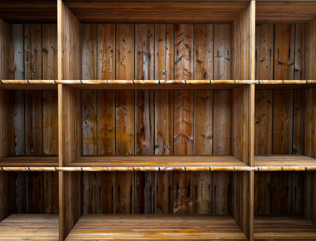 3D empty wood shelf  grunge interior for your objects Stock Photo - 17990898
