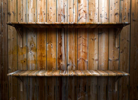 3D empty wood shelf  grunge interior for your objects Stock Photo - 17990841