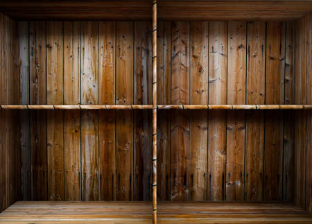 3D empty wood shelf  grunge interior for your objects Stock Photo - 17990885