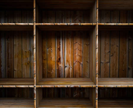 3D empty wood shelf  grunge interior for your objects Stock Photo - 17990799