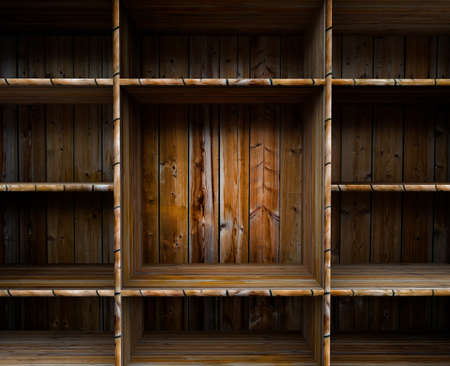 3D empty wood shelf  grunge interior for your objects
