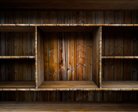 3D empty wood shelf  grunge interior for your objects Stock Photo - 17990807