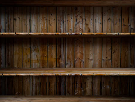 3D empty wood shelf  grunge interior for your objects photo
