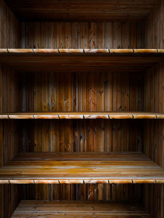 3D empty wood shelf  grunge interior for your objects Stock Photo - 17990810