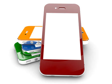 Four colored smartphones isolated on a white background with white copyspace on screen Stock Photo - 17990727