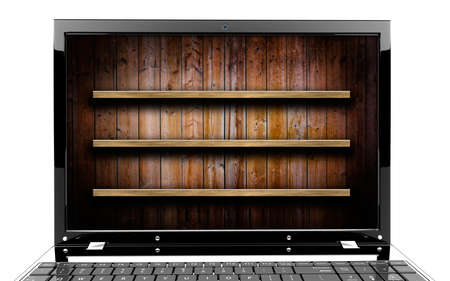 Focus on screen of a laptop with shelf Stock Photo - 17990804