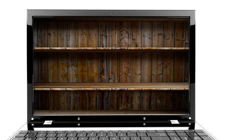 Focus on screen of a laptop with shelf Stock Photo - 17990790