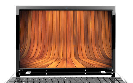 books on a wooden surface: Focus on screen of a laptop with wooden stage Stock Photo