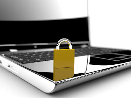 A golden lock on a laptop isolated on a white background  Online security concept photo