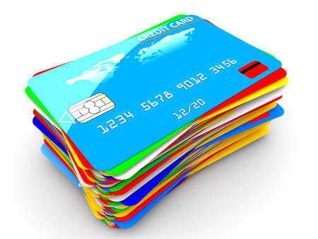 e card: A pile of many colorful credit cards isolated on a white background