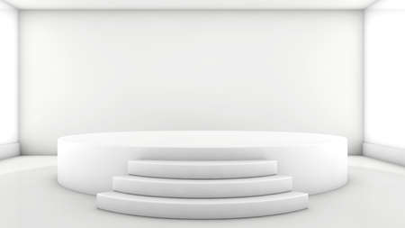 A 3d illustration of blank template layout of white empty musical, theater, concert or entertainment stage Standard-Bild
