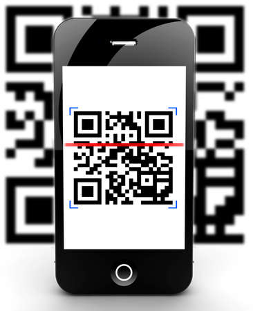 Illustration of a smartphone scanning a QR code Stock Illustration - 17990746