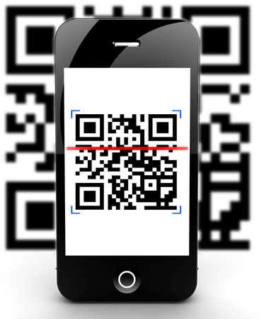 Illustration of a smartphone scanning a QR code Stock Illustration - 17990746