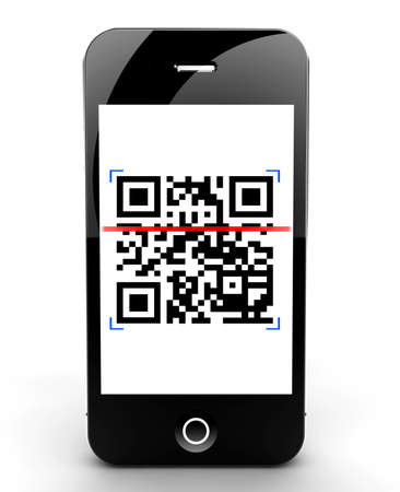 Illustration of a smartphone scanning a QR code illustration