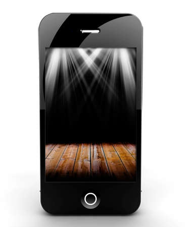 stage lights: A smartphone isolated on a white background with lights on screen