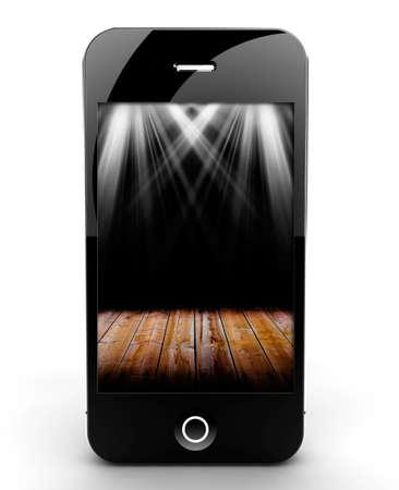 Uno smartphone isolato su uno sfondo bianco con le luci sullo schermo Archivio Fotografico