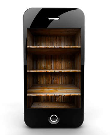 A smartphone isolated on a white background with shelf photo