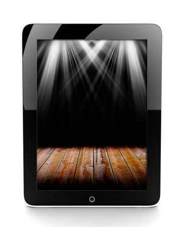 touchpad: A tablet isolated on a white background with lights