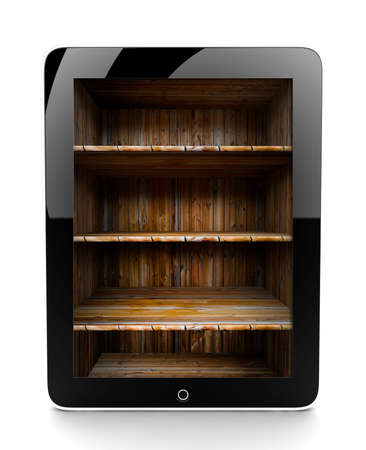 A tablet isolated on a white background with shelf photo