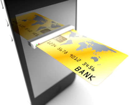 A credit card enter in a smartphone  Online payments concept photo