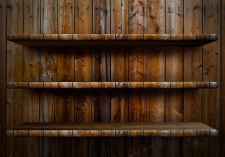 3D empty wood shelf  grunge interior for your objects Stock Photo - 18097310