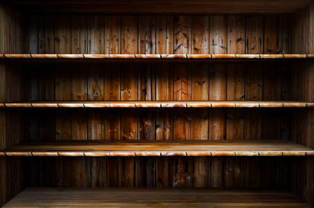 3D empty wood shelf  grunge inter for your objects Stock Photo - 18097309
