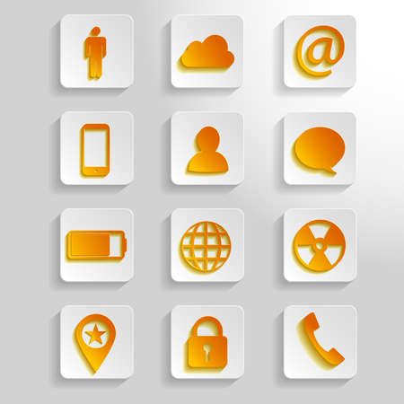 12 different white and orange paper icons   Vector