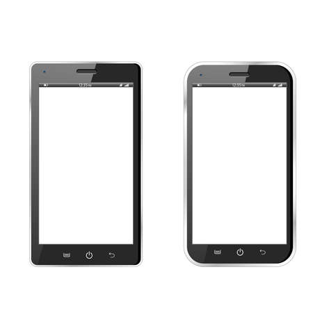 Realistic  illustration of two different modern black smartphones   Vector