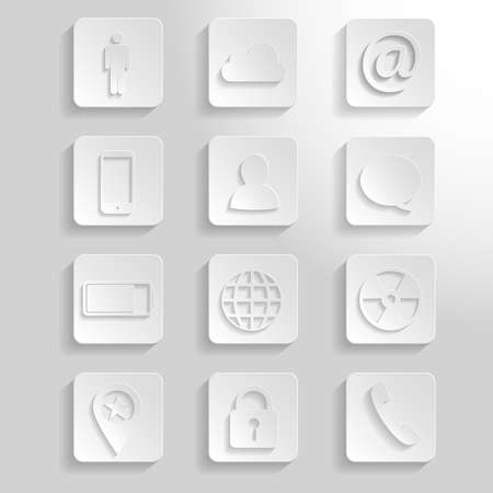 community service: 12 different white paper icons