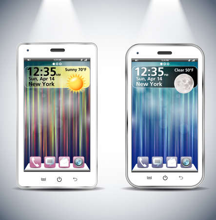 Realistic  illustration of two different modern white smartphones   Vector