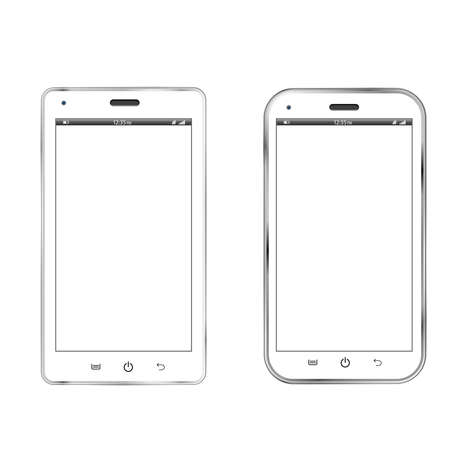 Realistic  illustration of two different modern white smartphones Stock Vector - 19091831