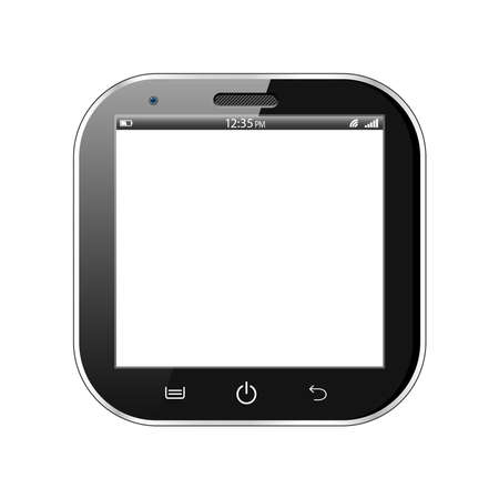 A black realistic vector square smartphone isolated on a white background Stock Vector - 19379733