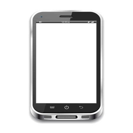 phone button: A black realistic vector smartphone isolated on a white background Illustration